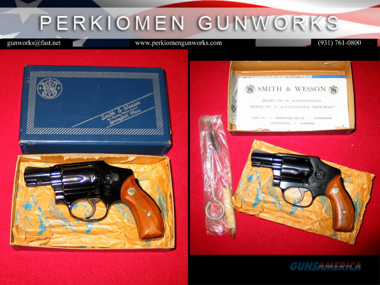 """M-42, 2 inch Blue, .38 Spec, """"The Centennial Airweight""""  Guns > Pistols > Smith & Wesson Revolvers > Small Frame ( J )"""
