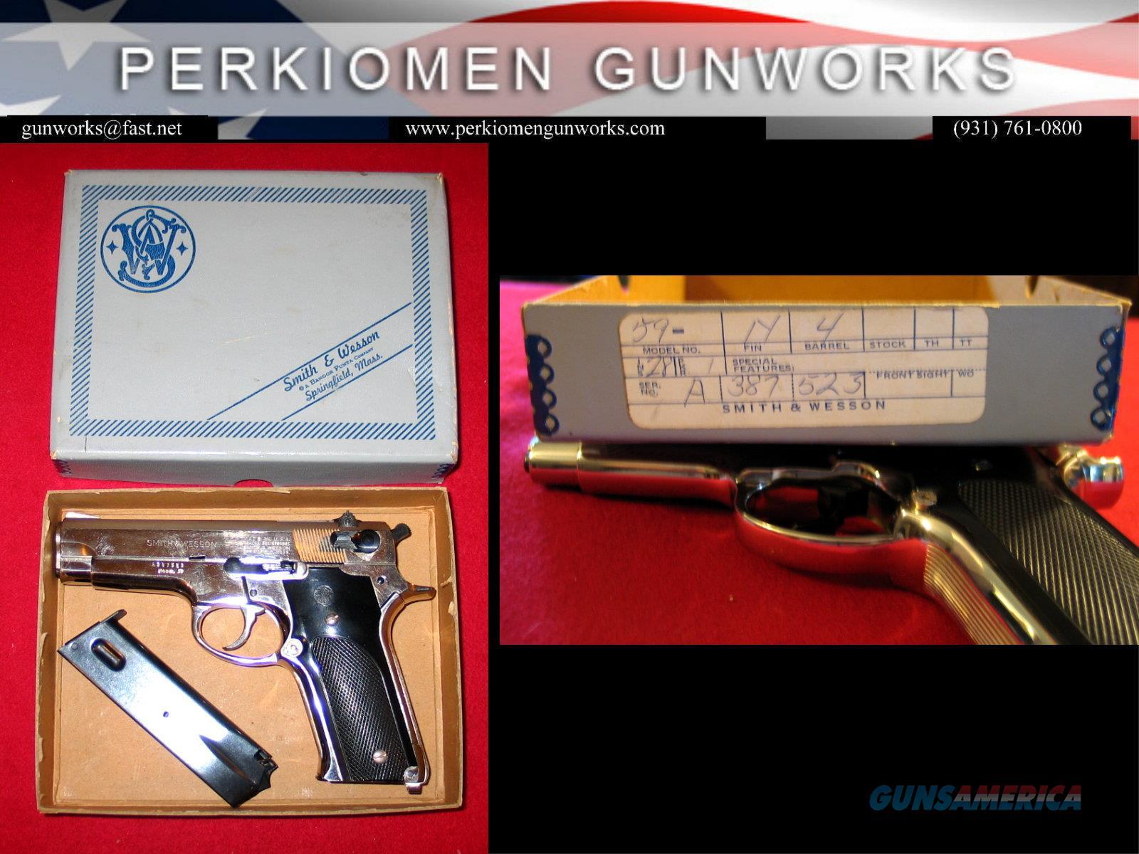 M-59 Nickel 9MM semi-auto pistol, as new in box  Guns > Pistols > Smith & Wesson Pistols - Autos > Steel Frame
