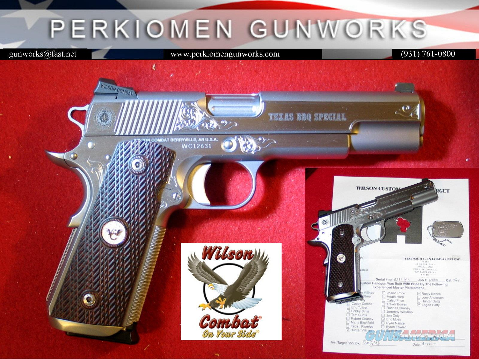 Texas BBQ Special Grade 1 Engraved, 5' 45acp, SS - NIB  Guns > Pistols > Wilson Combat Pistols