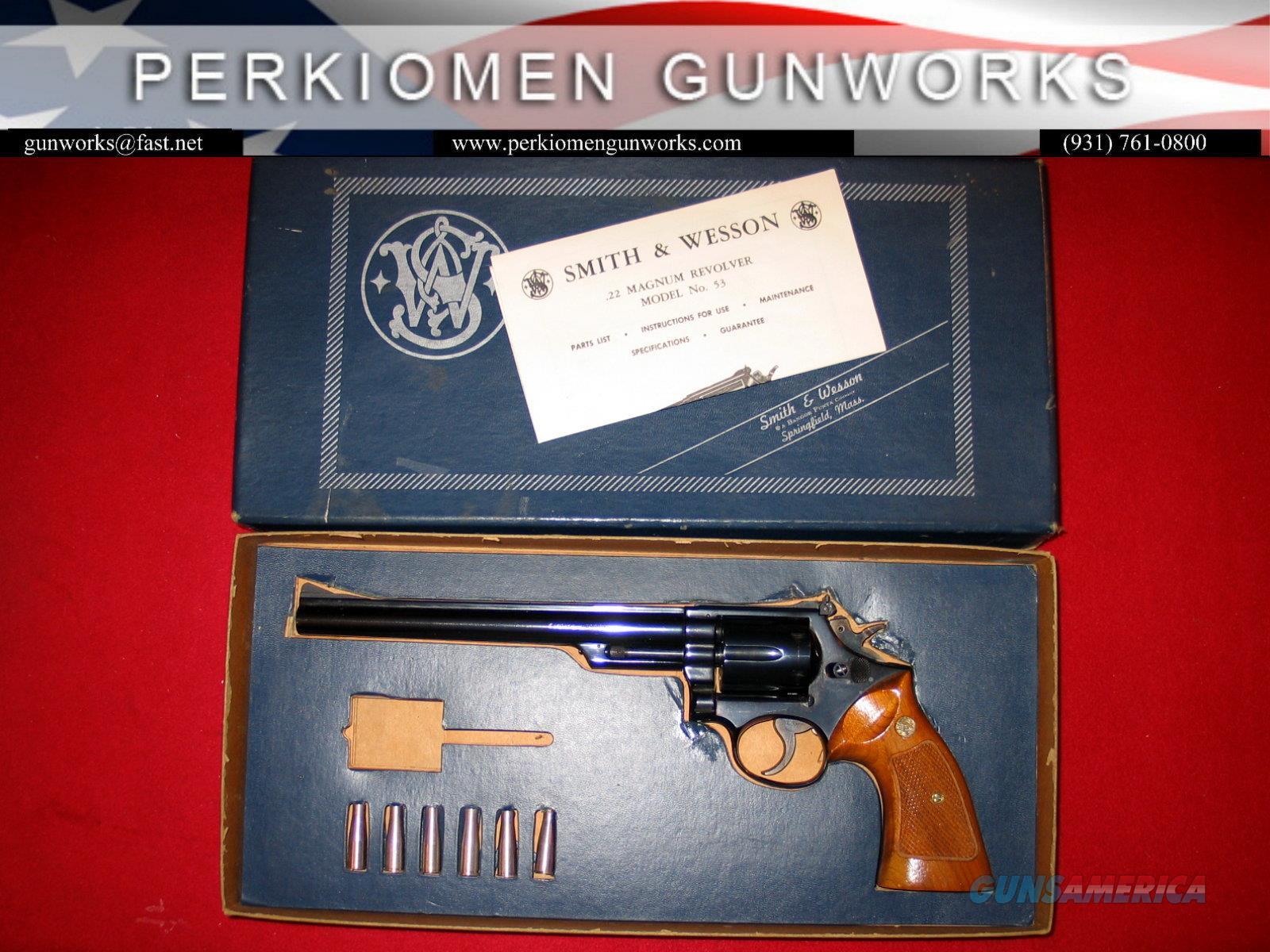 53-2, 8 3/8 inch blued Target, 22Jet/.22LR,   Guns > Pistols > Smith & Wesson Revolvers > Med. Frame ( K/L )
