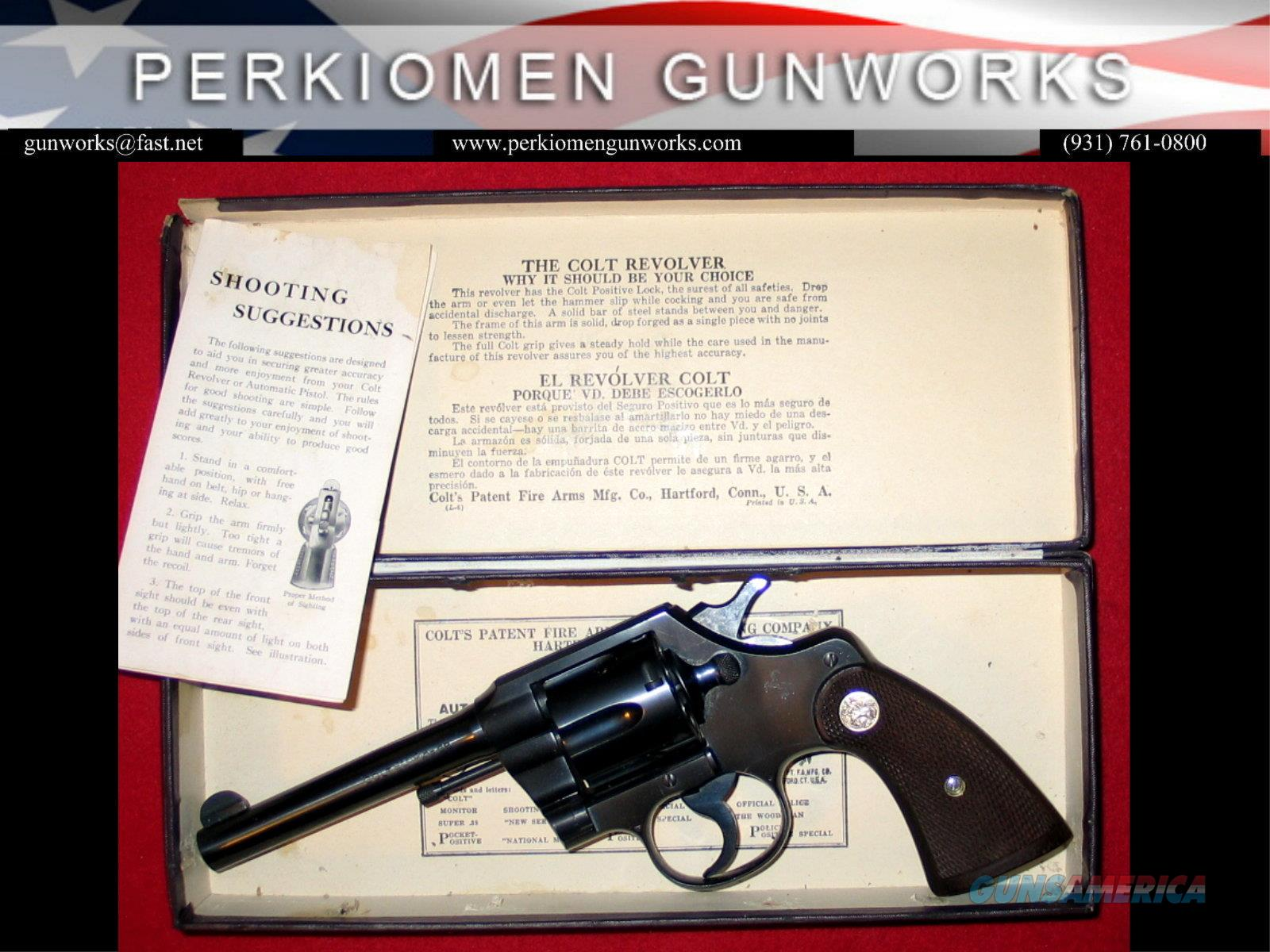 Official Police Pre-War 5 inch .38SP, blue/walnut with a box.  Guns > Pistols > Colt Double Action Revolvers- Pre-1945