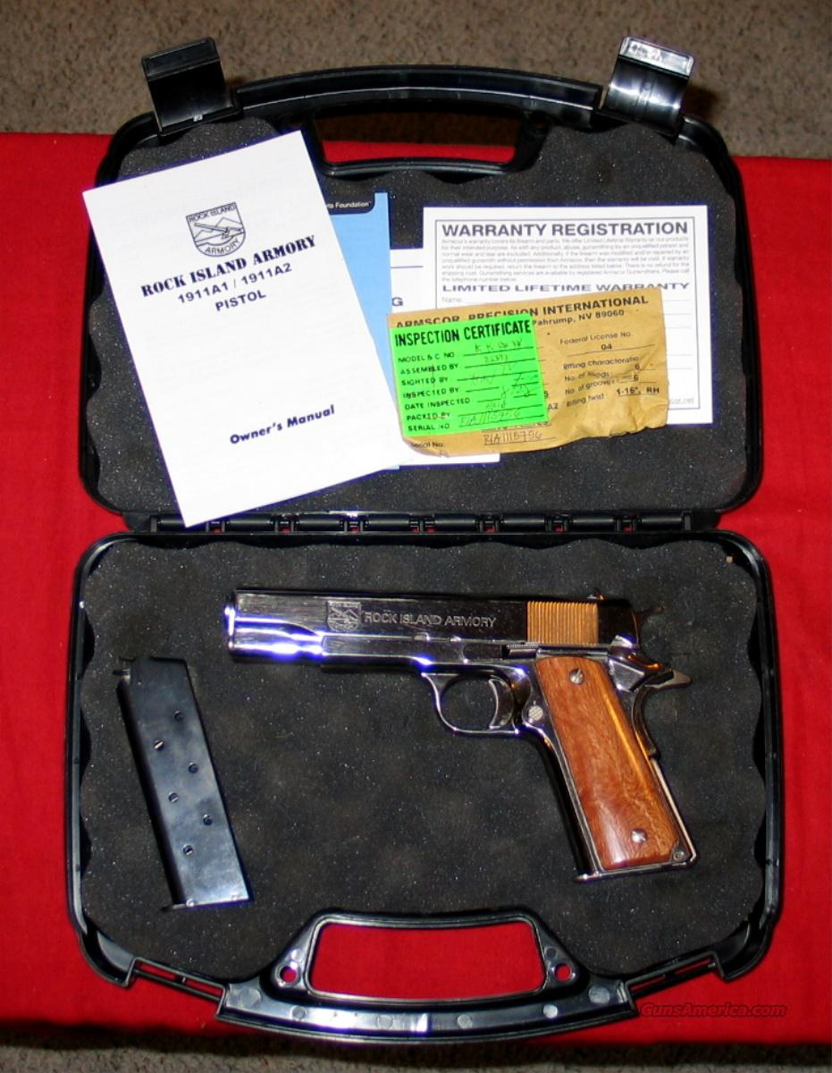 "Rock Island 1911 A1 - Nickel, 45acp, 5""  Guns > Pistols > Armscor Pistols"