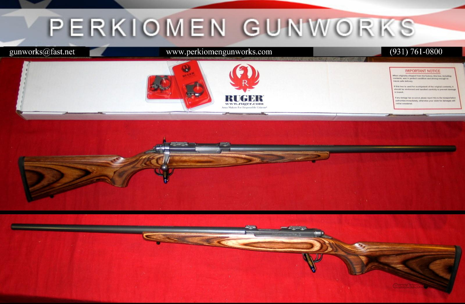 77 / 22 Hornet Gray SS/Brown Lam, Heavy bbl - NIB  Guns > Rifles > Ruger Rifles > Model 77