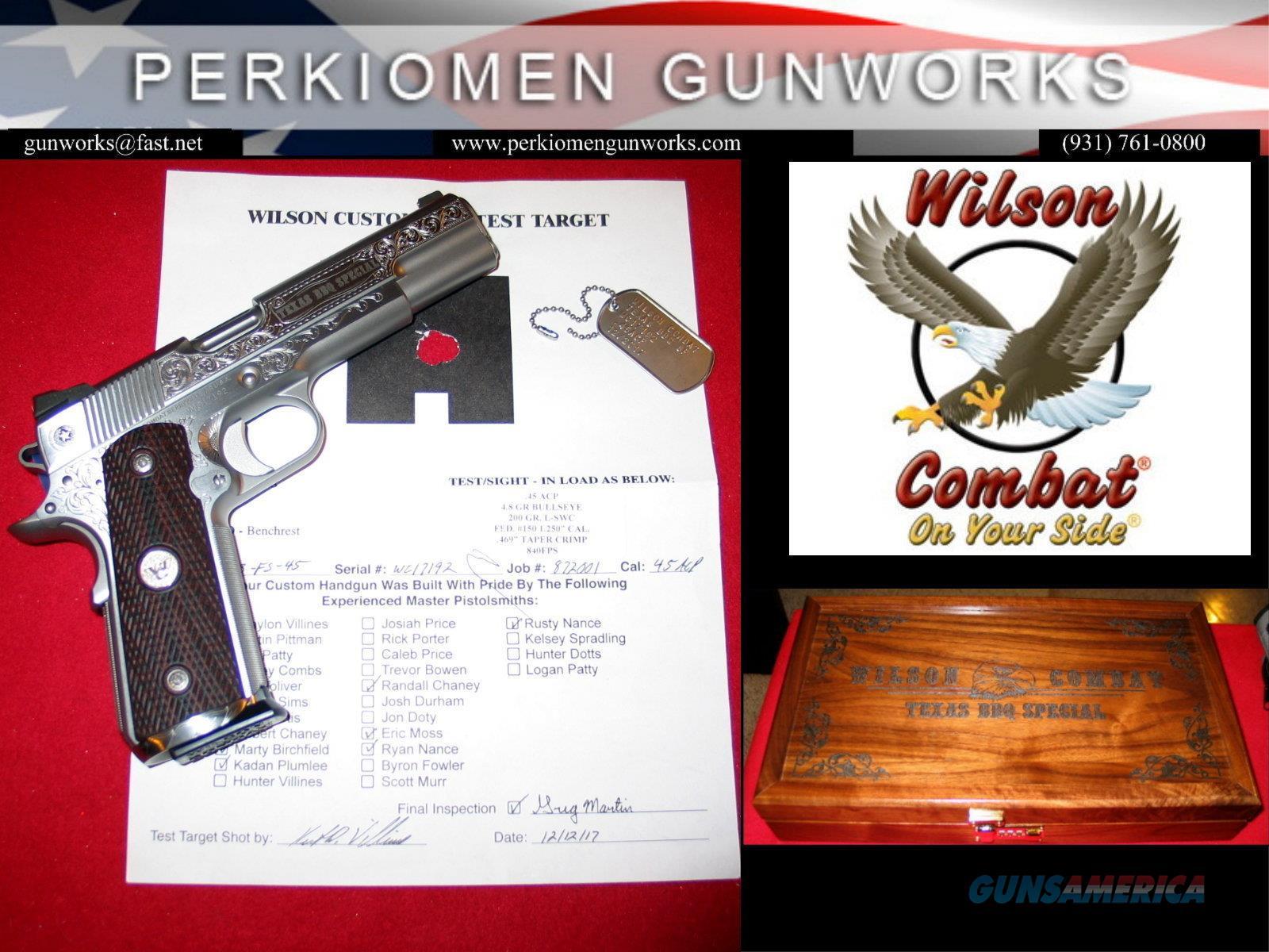 Texas BBQ Special - Grade 3 Engraved, .45acp, NIB, # BBQ3-FS-45, w/Display case.  Guns > Pistols > Wilson Combat Pistols