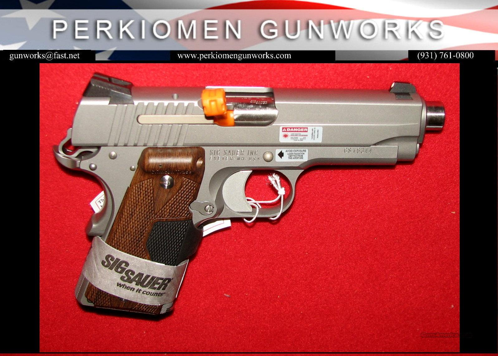 1911CO-45-SSS-CTW, Compact Stainless, 45acp w/Laser Grips-Nite Sights- NIB  Guns > Pistols > Sig - Sauer/Sigarms Pistols > 1911