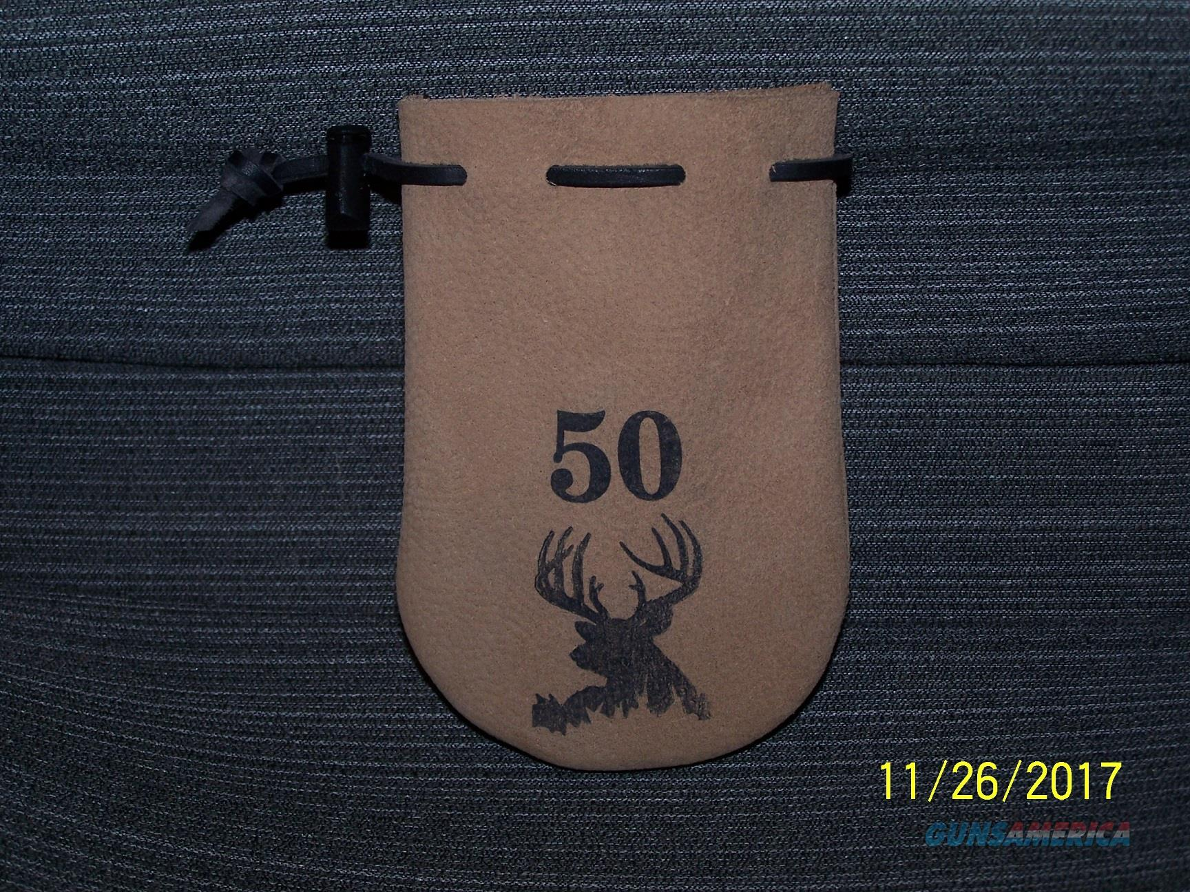 50 cal muzzleloader Leather POUCH ammo bag with 40 RB bullets.  Non-Guns > Black Powder Cartridge