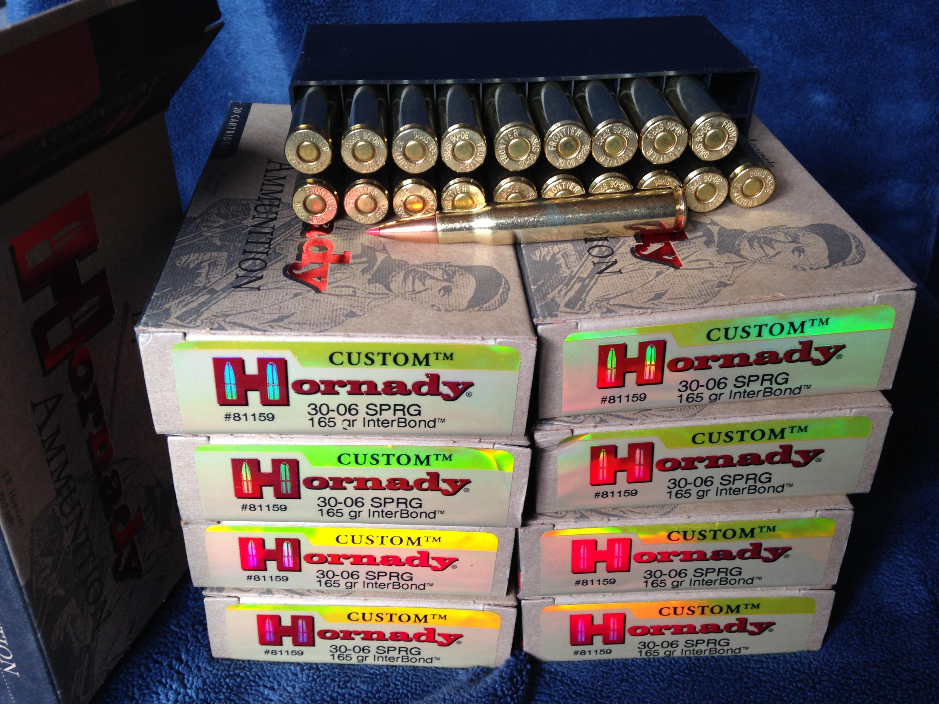 9 x boxes Hornady 30.06 165g Interbond   Non-Guns > Ammunition