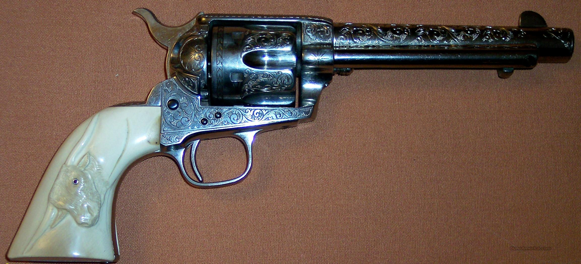 Colt Single Action Army (1882) Engraved, Ivory Grips, .45 Antique  Guns > Pistols > Colt Single Action Revolvers - 1st Gen.