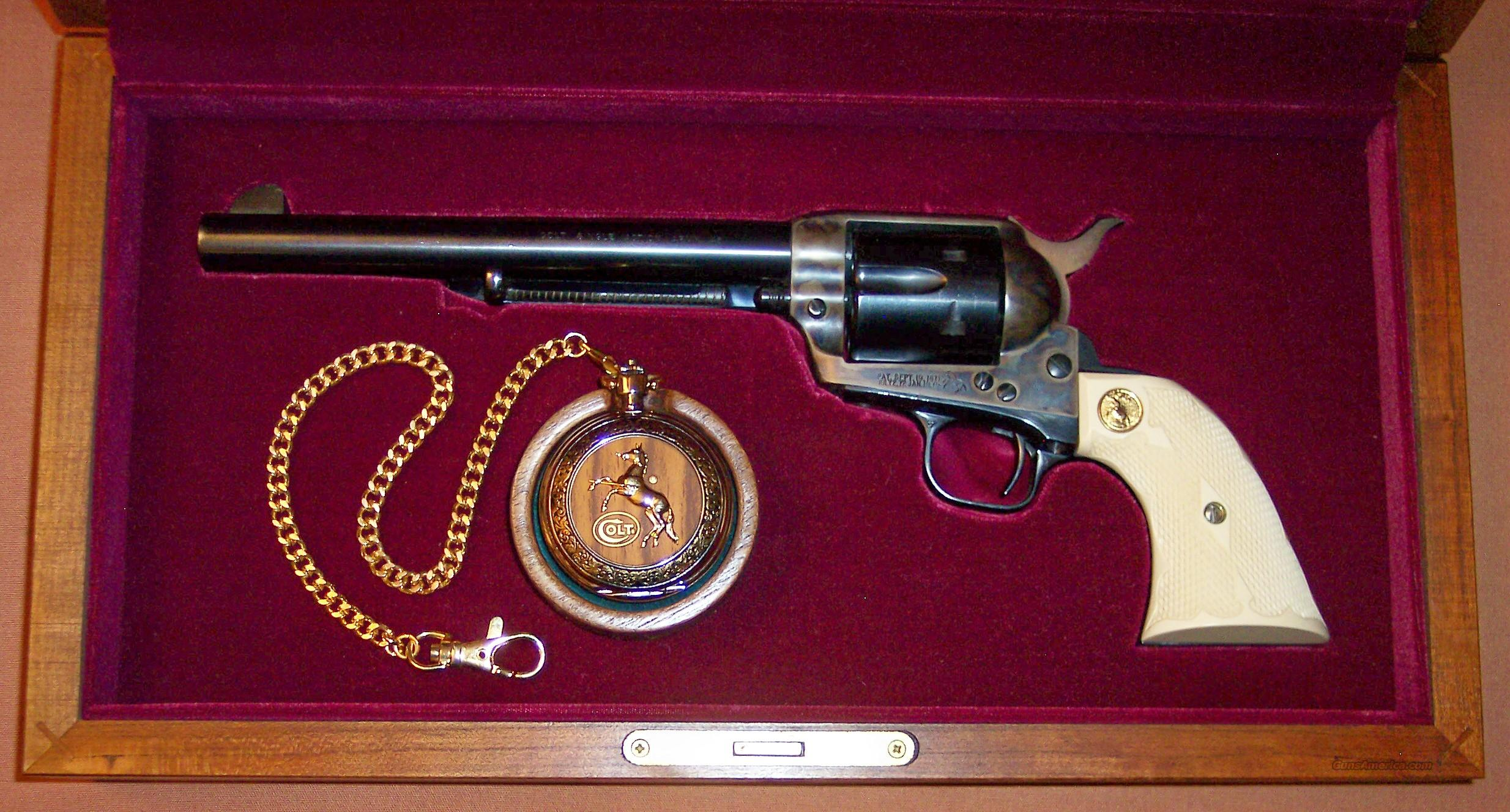 "Cased Single Action Army .45 7.5"" Barrel 3rd Generation, with Colt Peacemaker Pocket Watch   Guns > Pistols > Colt Single Action Revolvers - 3rd Gen."