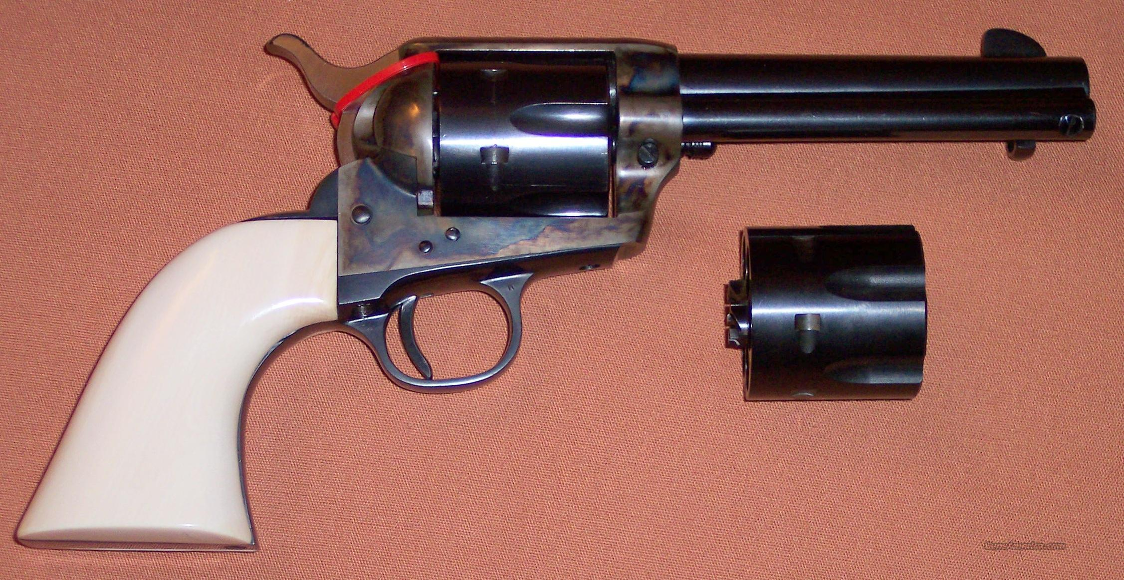 "Colt 2nd Generation Single Action Army SAA, 4.75"" Barrel, .45 Cal. with .45 ACP Cylinder, One Piece Ivory Grips c. 1969  Guns > Pistols > Colt Single Action Revolvers - 2nd Gen."