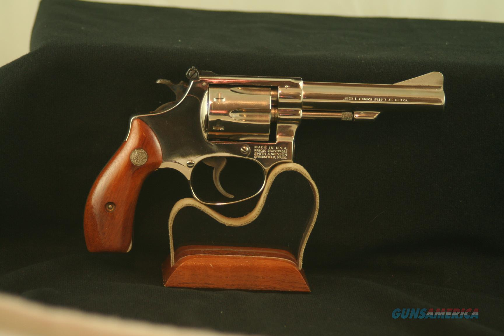 "Smith & Wesson Model 34-1, 22 LR, Nickle 4"" barrel, in original box   Guns > Pistols > Smith & Wesson Revolvers > Small Frame ( J )"