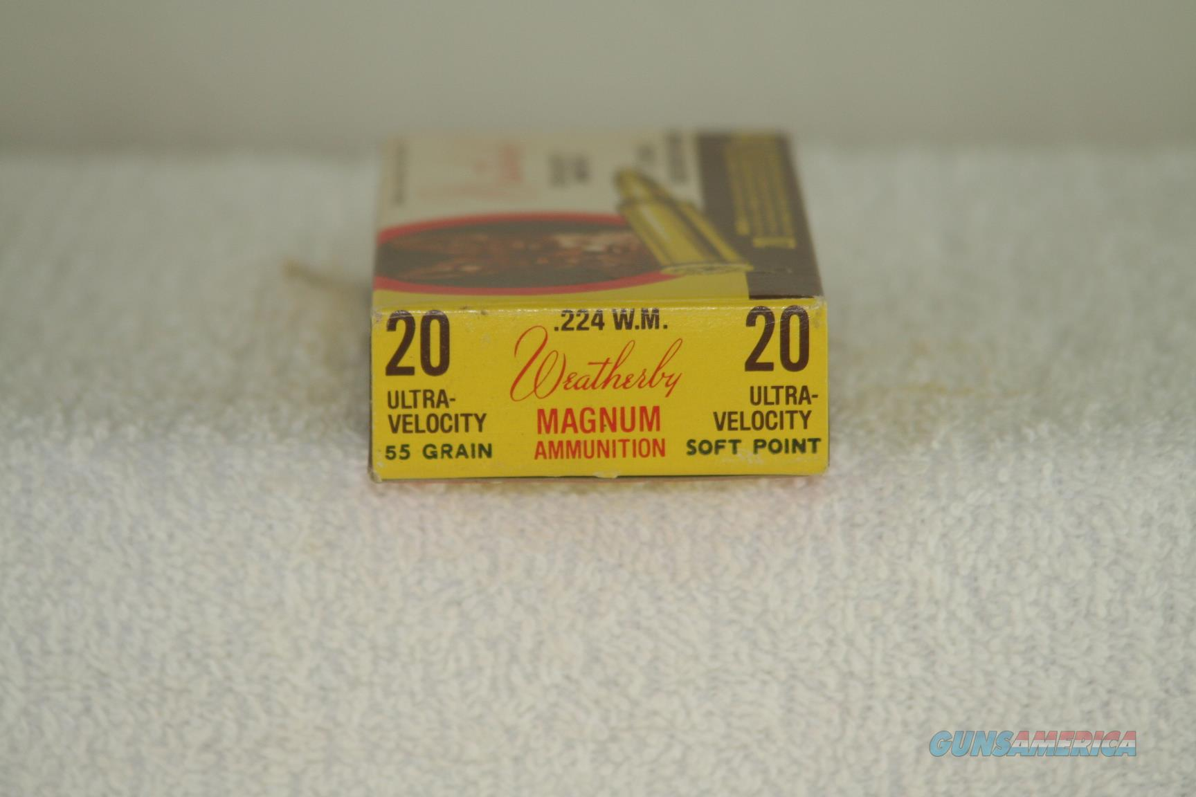 Weatherby 224 Weatherby Mag ammo, 55 gr . Full box of factory ammo   Non-Guns > Ammunition