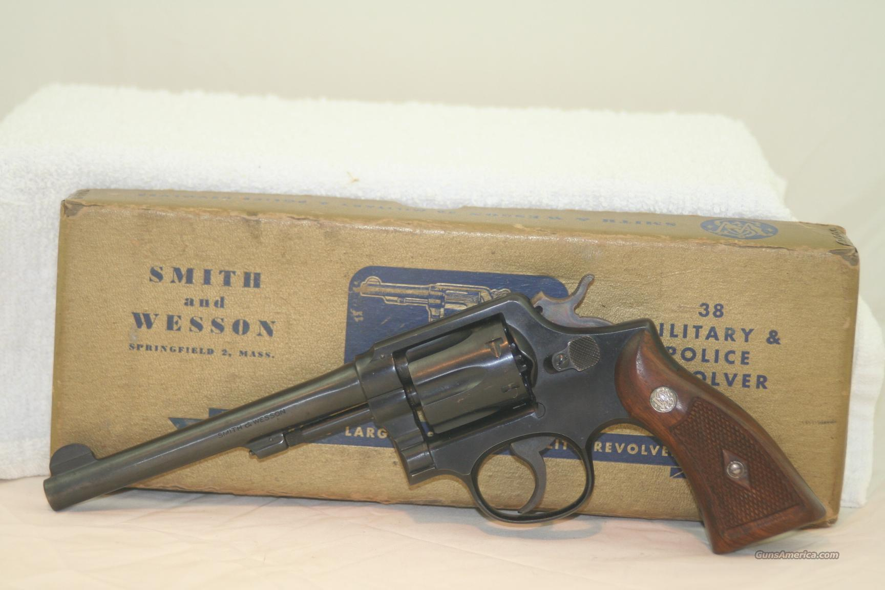 "S&W M&P, 38 Spl, 6"" Blue, made in 1953  Guns > Pistols > Smith & Wesson Revolvers > Model 10"