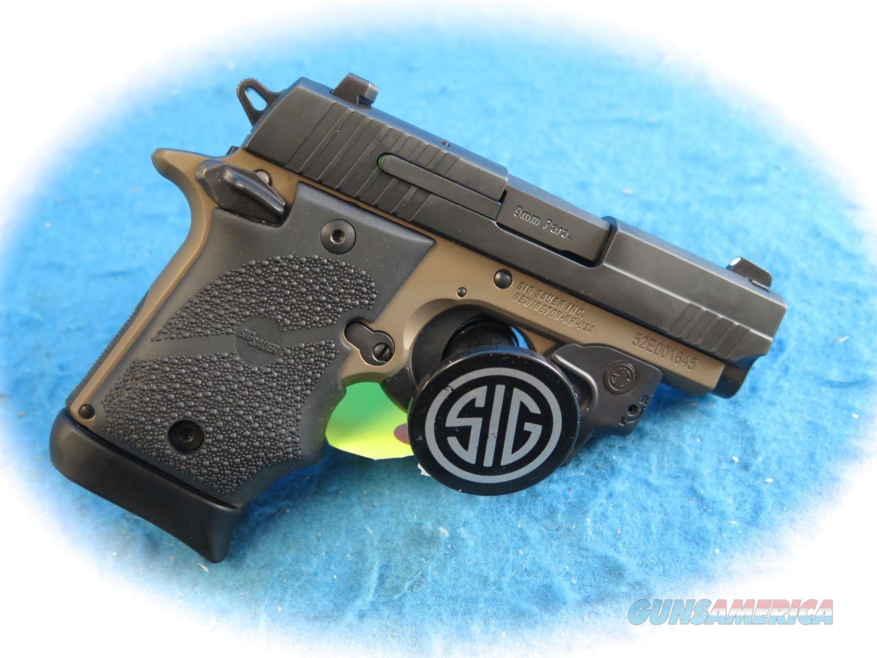 Sig Sauer P938 FDE Two-Tone 9mm Pistol W/Laser **New**  Guns > Pistols > Sig - Sauer/Sigarms Pistols > P938