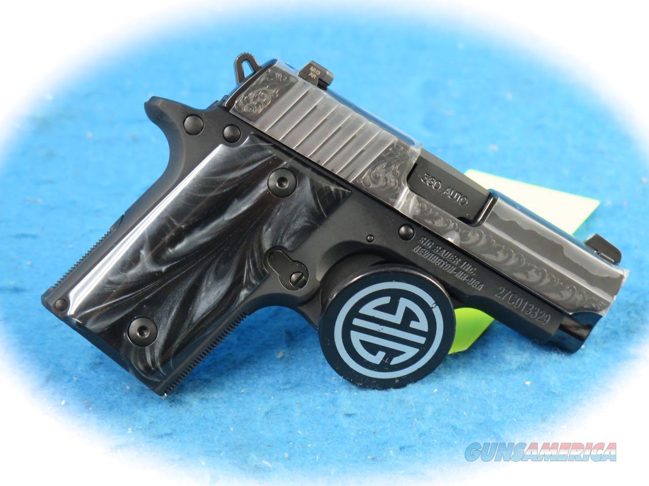 Sig Sauer P238 Engraved Black Pearl .380 ACP Pistol **New**  Guns > Pistols > Sig - Sauer/Sigarms Pistols > P238
