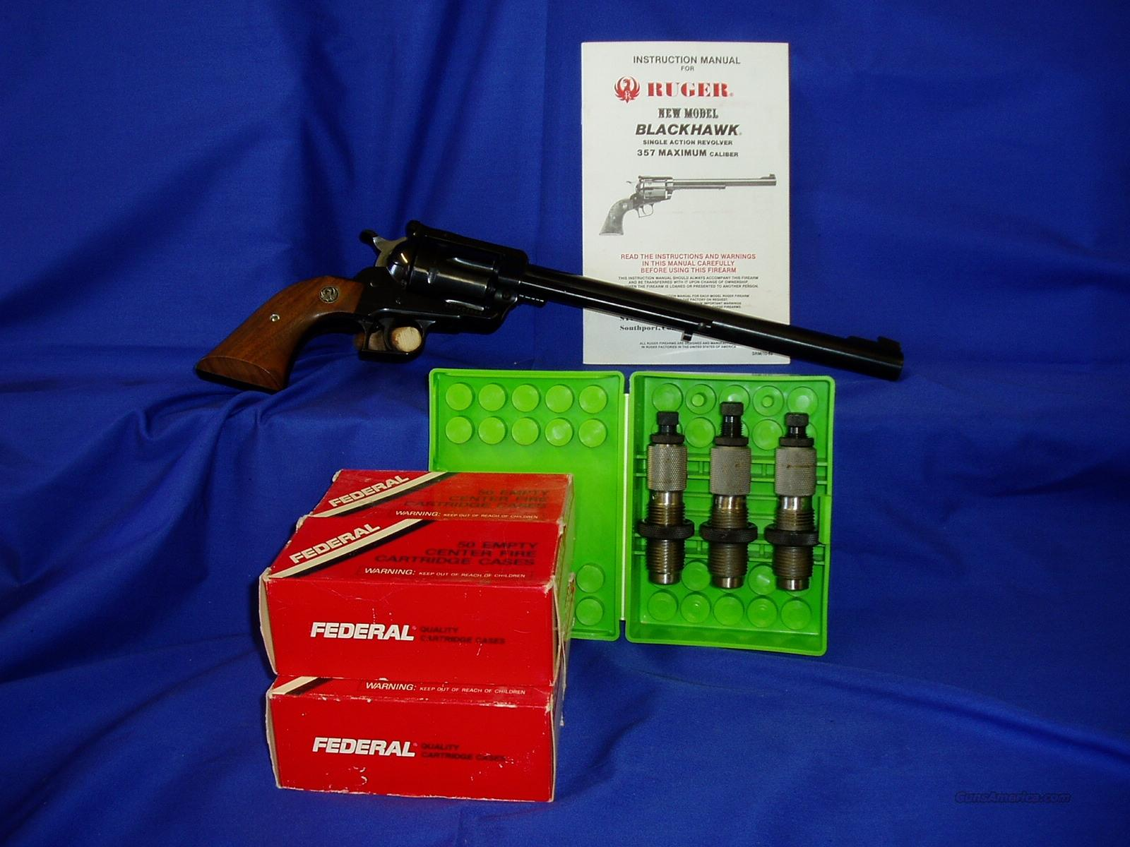 "Ruger Blackhawk .357 Maximum 10-1/2"" w/ Brass and Dies  Guns > Pistols > Ruger Single Action Revolvers > Blackhawk Type"