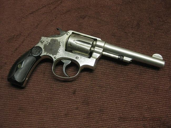SMITH & WESSON 32-20 HAND EJECTOR - PRE-WAR - 5-INCH NICKEL  Guns > Pistols > Smith & Wesson Revolvers > Pre-1945
