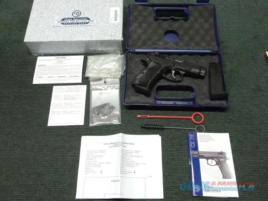 CZ 75 COMPACT 9MM - STEEL - DOUBLE / SINGLE ACTION - NIGHT SIGHTS - 2 14-RND MAGS - 2007 - WITH BOX, PAPERS, TEST TARGET  Guns > Pistols > CZ Pistols