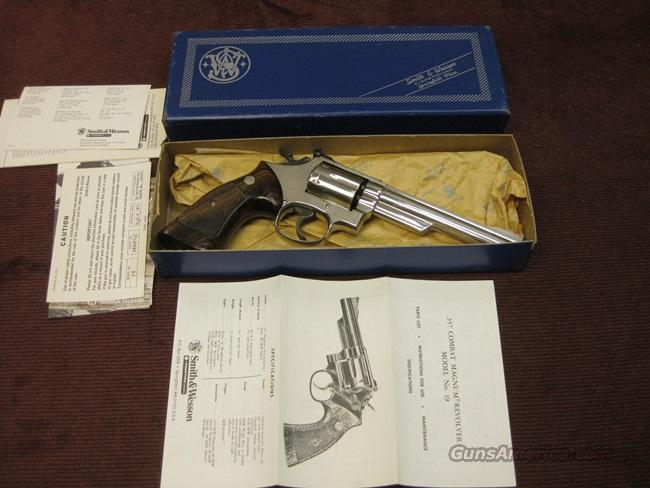 SMITH & WESSON 19-4 .357 MAGNUM - NICKEL - 6-INCH - EXCELLENT WITH BOX  Guns > Pistols > Smith & Wesson Revolvers > Full Frame Revolver