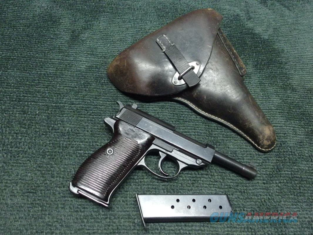 """GERMAN WALTHER P38 9MM - """"cyq"""" STAMP- SPREEWERK PRODUCTION  - WITH LEATHER HOLSTER AND SPARE MAGAZINE  Guns > Pistols > Walther Pistols > Pre-1945 > P-38"""