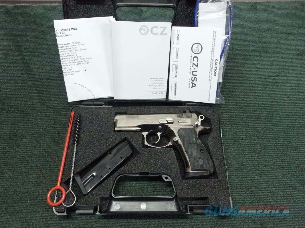 CZ 75 P-01 9MM - BRIGHT STAINLESS - NEW IN BOX WITH PAPERS & FACTORY TEST TARGET - RARE !  Guns > Pistols > CZ Pistols