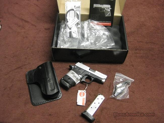 SIG SAUER P238 .380 - 2-TONE - LASER SIGHT - NIGHT SIGHTS - EXTRA EXTENDED MAG. - AS NEW IN BOX  Guns > Pistols > Sig - Sauer/Sigarms Pistols > P238