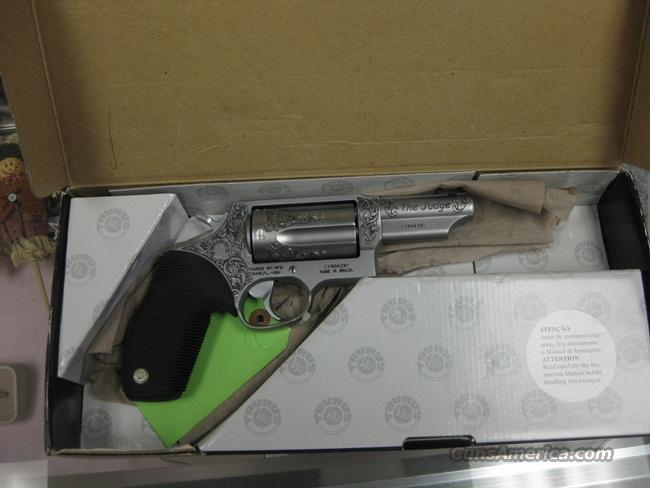 TAURUS JUDGE 45 .410GA STAINLESS - CUSTOM ENGRAVED - NEAR MINT  Guns > Pistols > Taurus Pistols/Revolvers > Revolvers