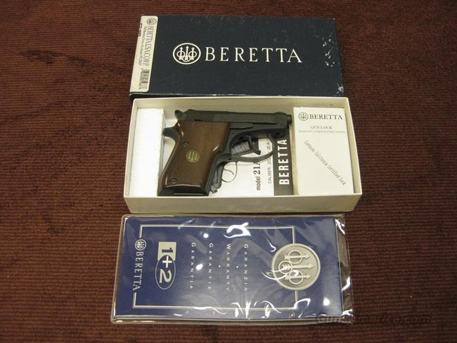 BERETTA 21A .22LR - WALNUT GRIPS - MATTE FINISH - NEAR MINT IN BOX  Guns > Pistols > Beretta Pistols > Small Caliber Tip Out