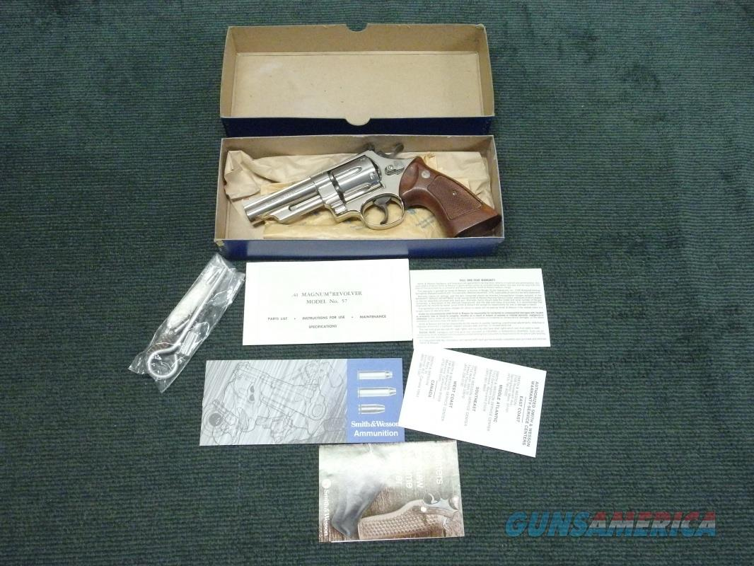 SMITH & WESSON MODEL 57 .41 MAGNUM - 4-INCH - NICKEL - NEW IN BOX  Guns > Pistols > Smith & Wesson Revolvers > Full Frame Revolver