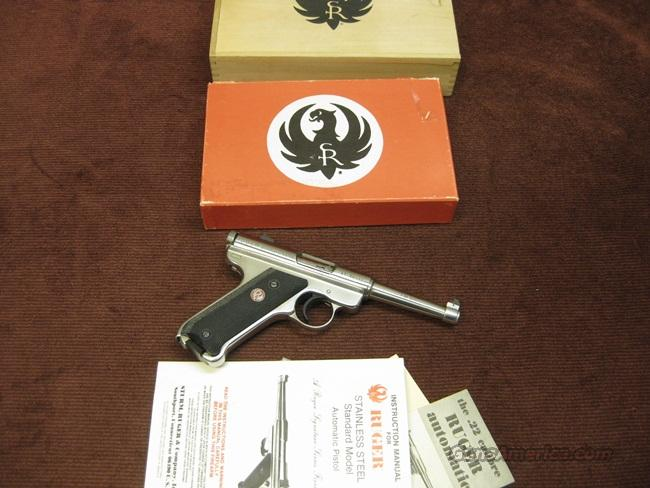 RUGER STANDARD .22LR - 1 0F 5000 - STAINLESS - MADE IN 1982 - NEW IN BOX  Guns > Pistols > Ruger Semi-Auto Pistols > Mark I & II Family