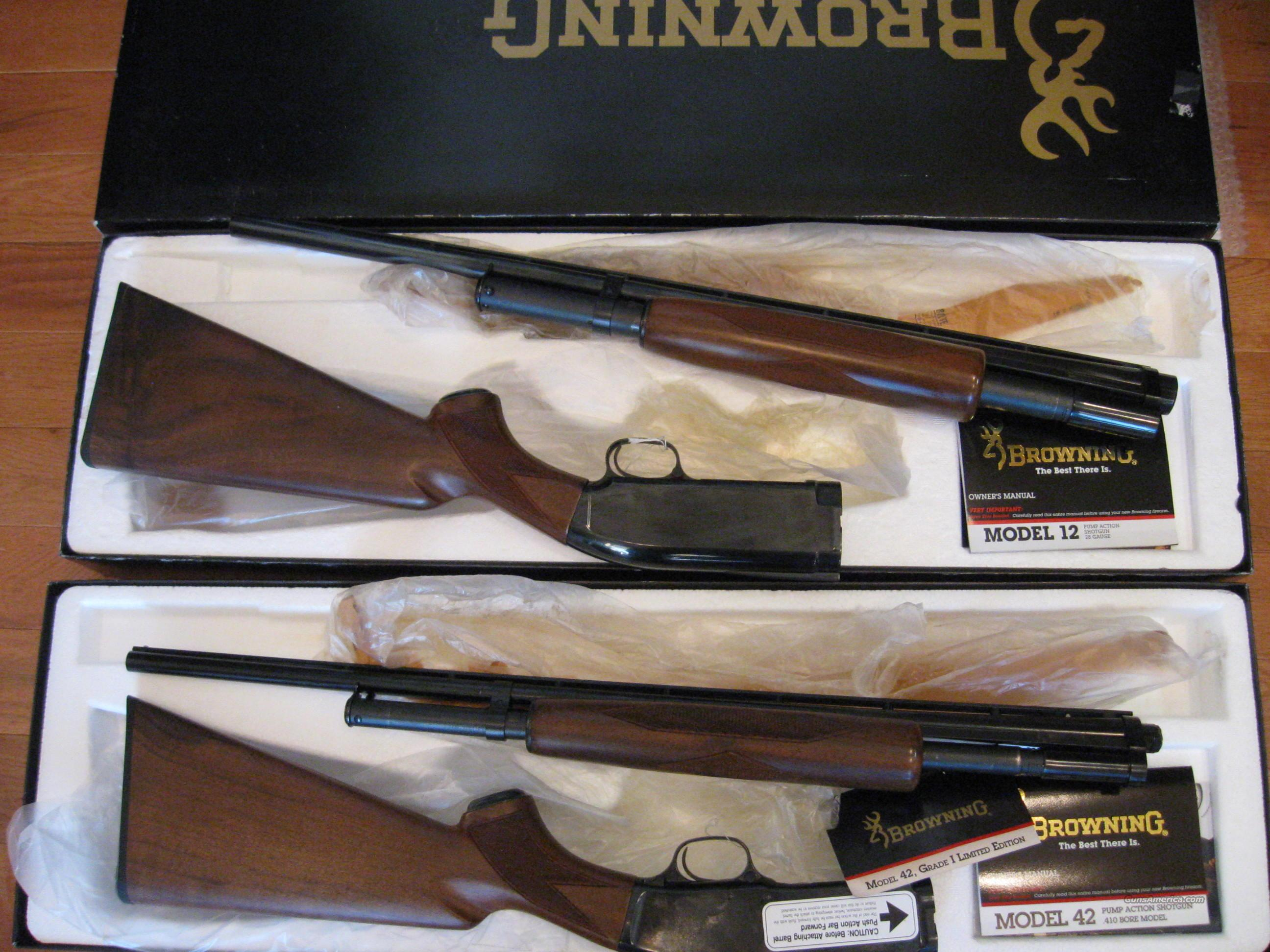 Browning M-42 & M12 28ga Pair  Guns > Shotguns > Browning Shotguns > Pump Action > Hunting