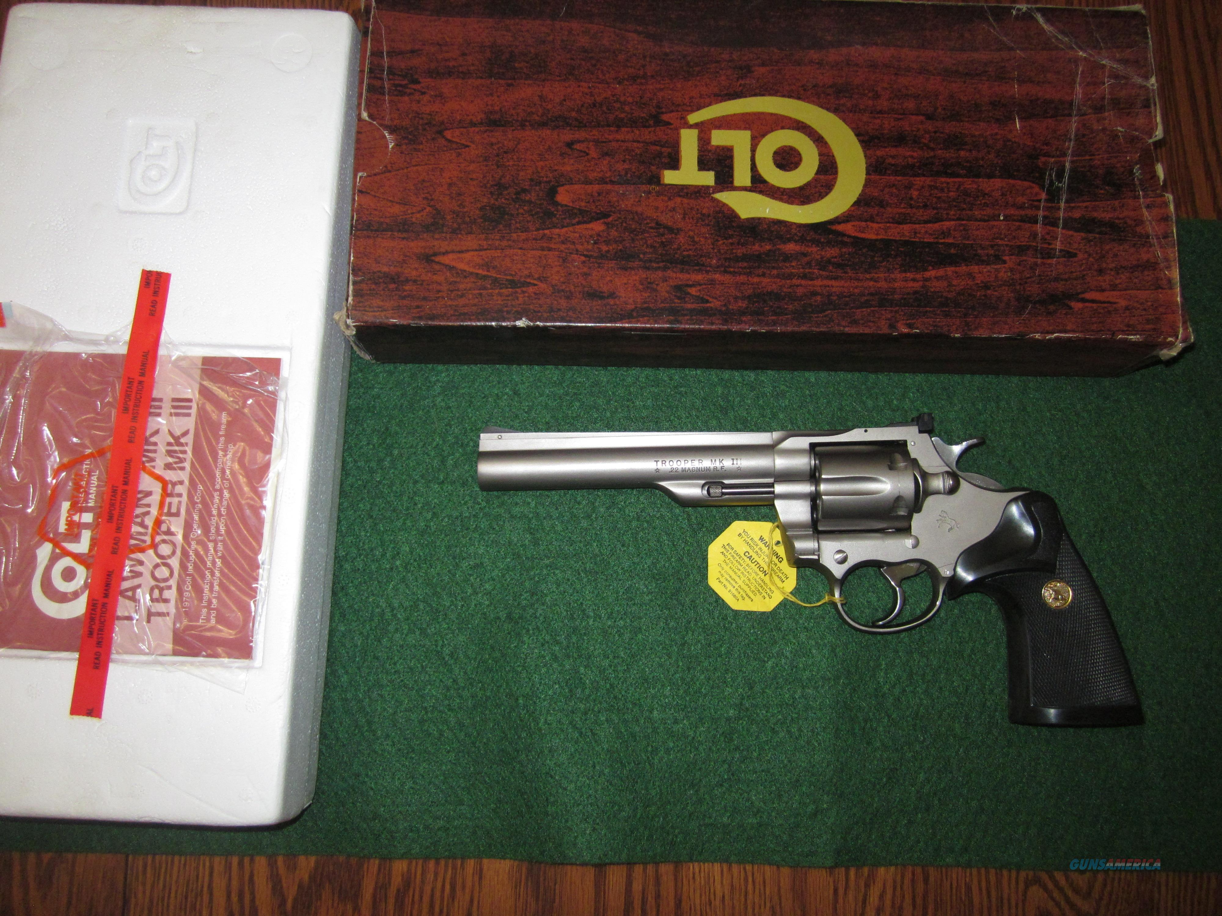 Colt Trooper MKII 22 Mag E Nickel  Guns > Pistols > Colt Double Action Revolvers- Modern