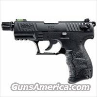 "Walther P22 Semi Auto Handgun .22LR 3.4 Barrel 10 Rounds Tactical Threaded Barrel Fiber Optic Front Sight Adjustable Rear Sight Black QAP22522 Click here to view a larger image Walther P22 Semi Auto Handgun .22LR 3.4"" Barrel 10 Rounds Tact  Guns > Pistols > Walther Pistols > Post WWII > P22"