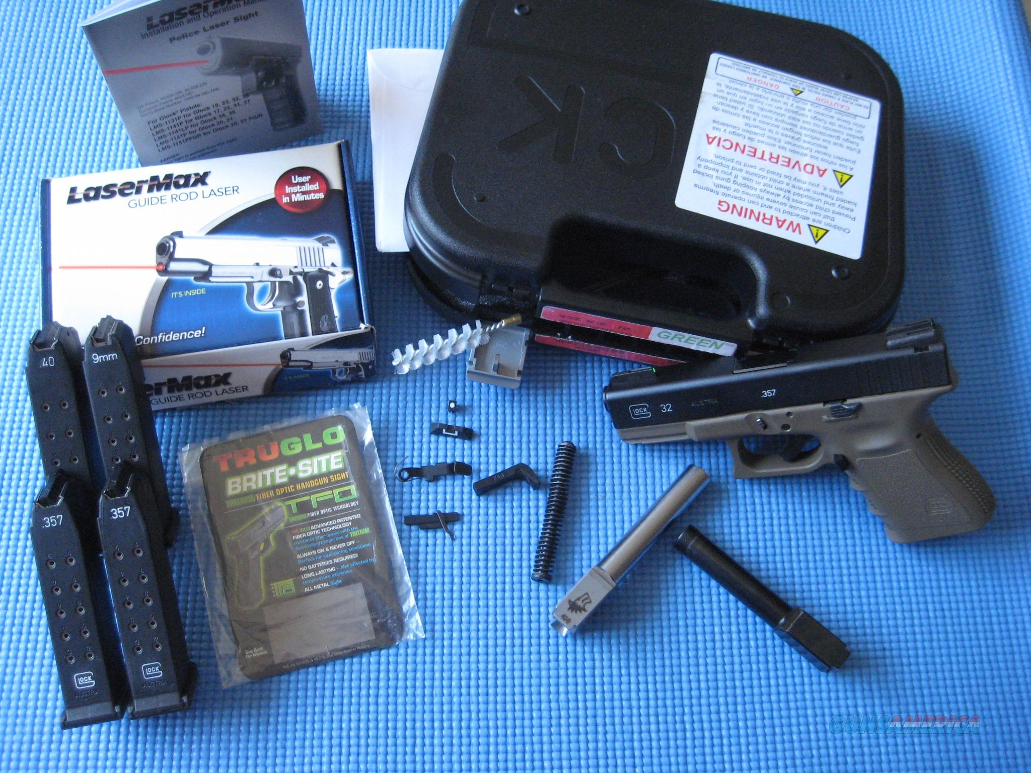 Glock 32 OD green with .40 S&W and 9mm barrels + LaserMax + night sights + other extras  Guns > Pistols > Glock Pistols > 31/32/33