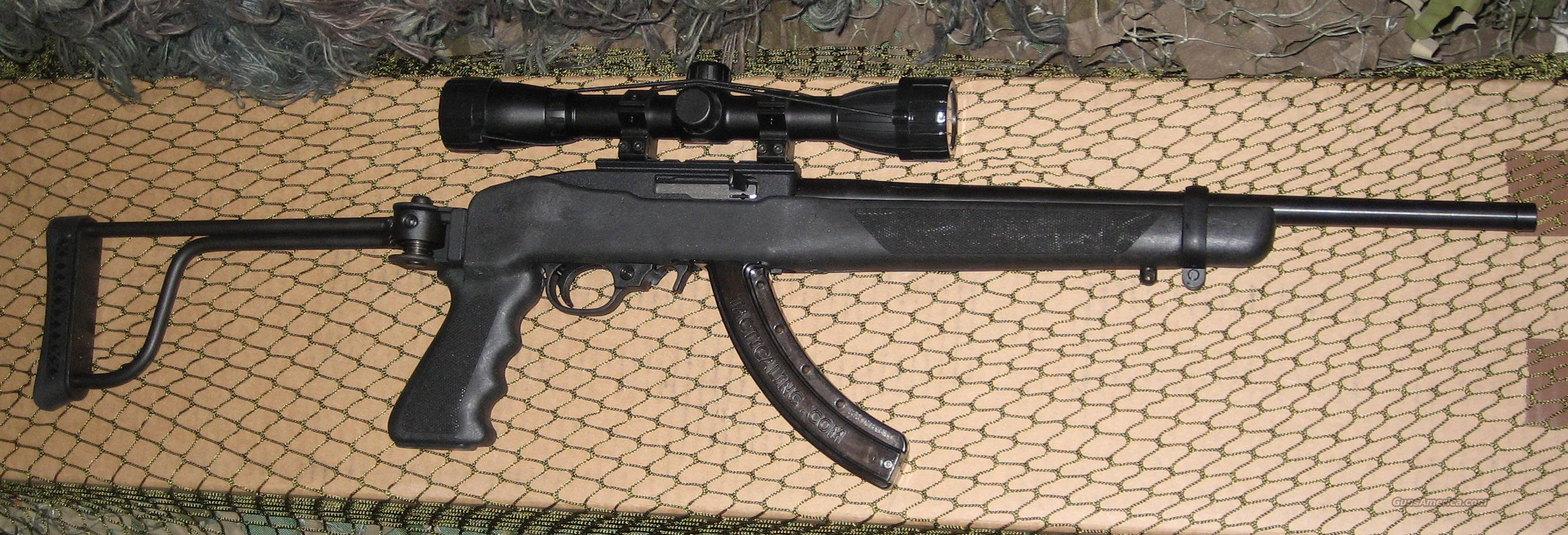 Tactical Ruger 10/22 with threaded barrel (standard size), scope, Butler Creek folding stock  Guns > Rifles > Ruger Rifles > 10-22