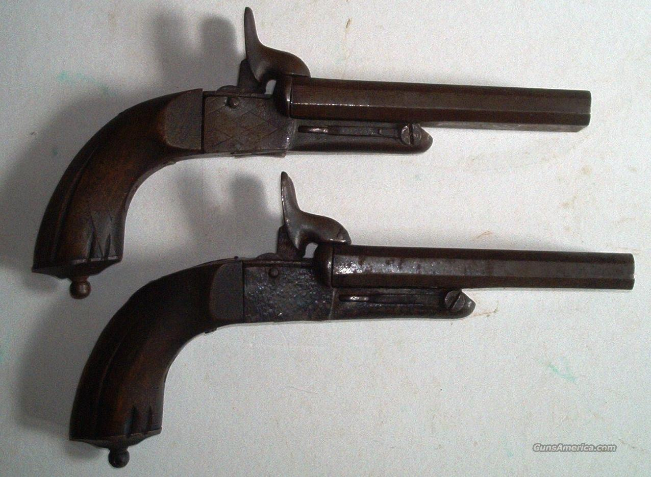 Pair French Flobert Pin Fire Double Barrel Pistols  Guns > Pistols > Antique (Pre-1899) Pistols - Ctg. Misc.