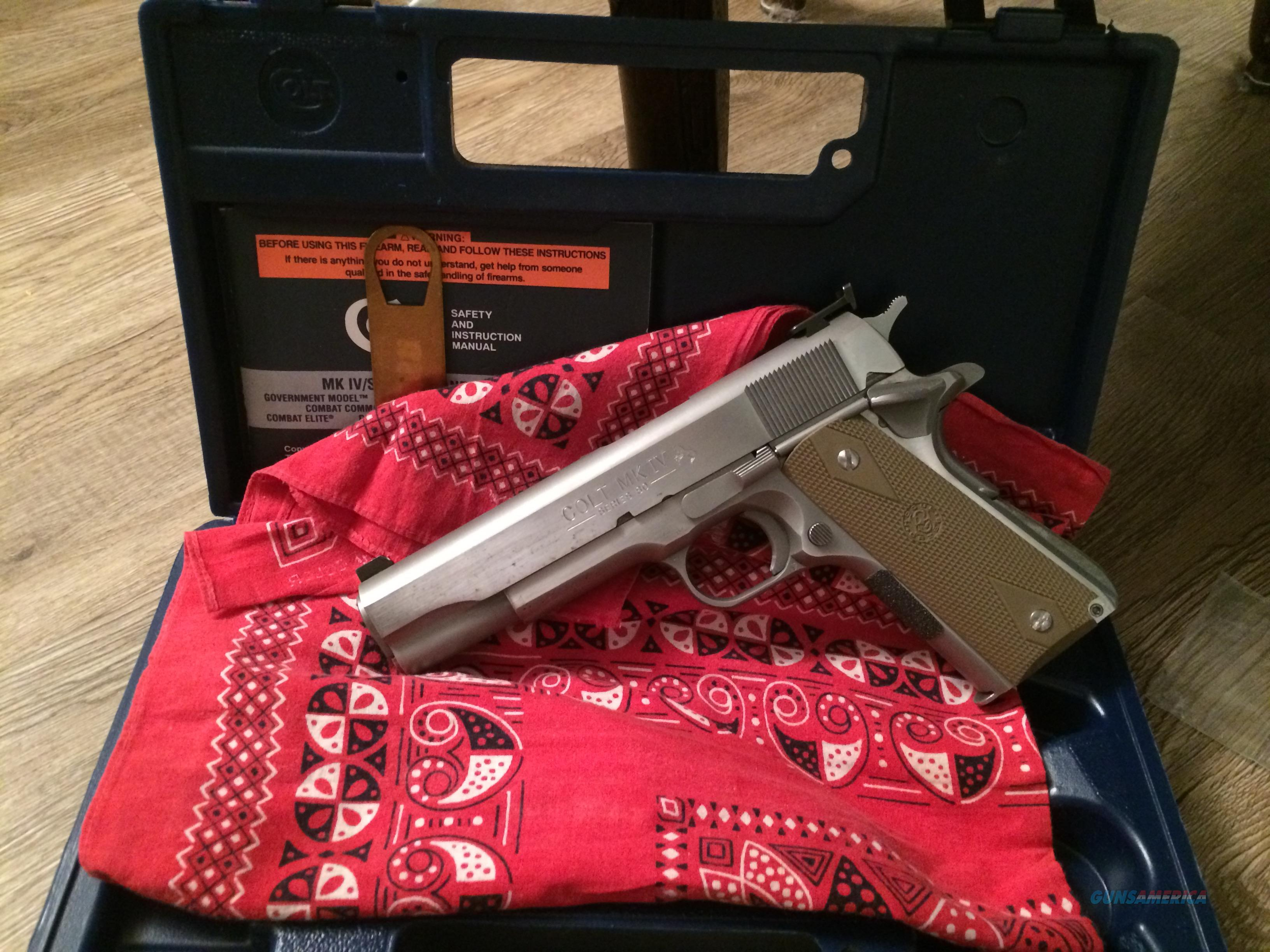 "UPGRADED 1983 Colt ""Series 80"" STAINLESS 1911 .45 ACP, Wilson Combat Barrel, EGW Bushing Professionally Installed, Hogue Rubber AND Original Colt Black Wood Grips w/Medallions!  Guns > Pistols > Colt Automatic Pistols (1911 & Var)"
