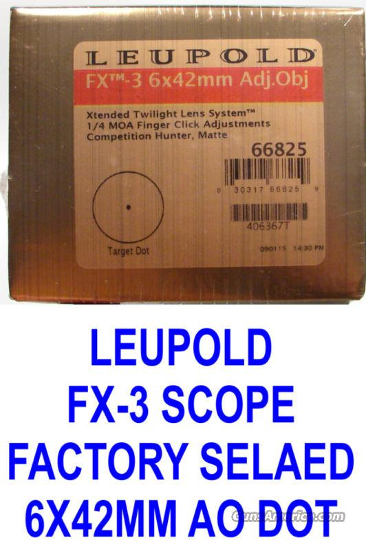Leupold FX3 6x42mm Rifle Scope 66825 Target Dot NEW!!  Non-Guns > Scopes/Mounts/Rings & Optics > Rifle Scopes > Variable Focal Length