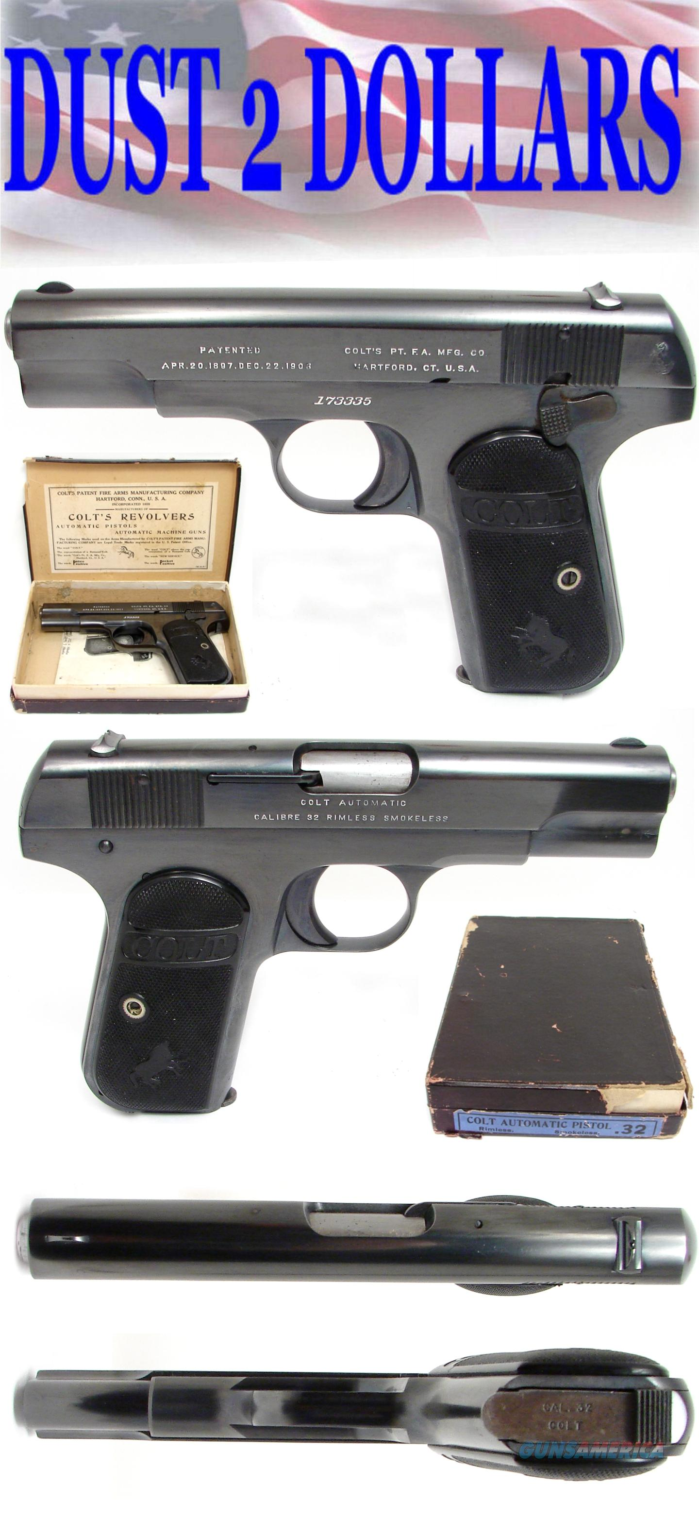 Colt 1903 Hammerless 32 ACP Pistol Mfd 1915 IN THE BOX NICE!  Guns > Pistols > Colt Automatic Pistols (.25, .32, & .380 cal)