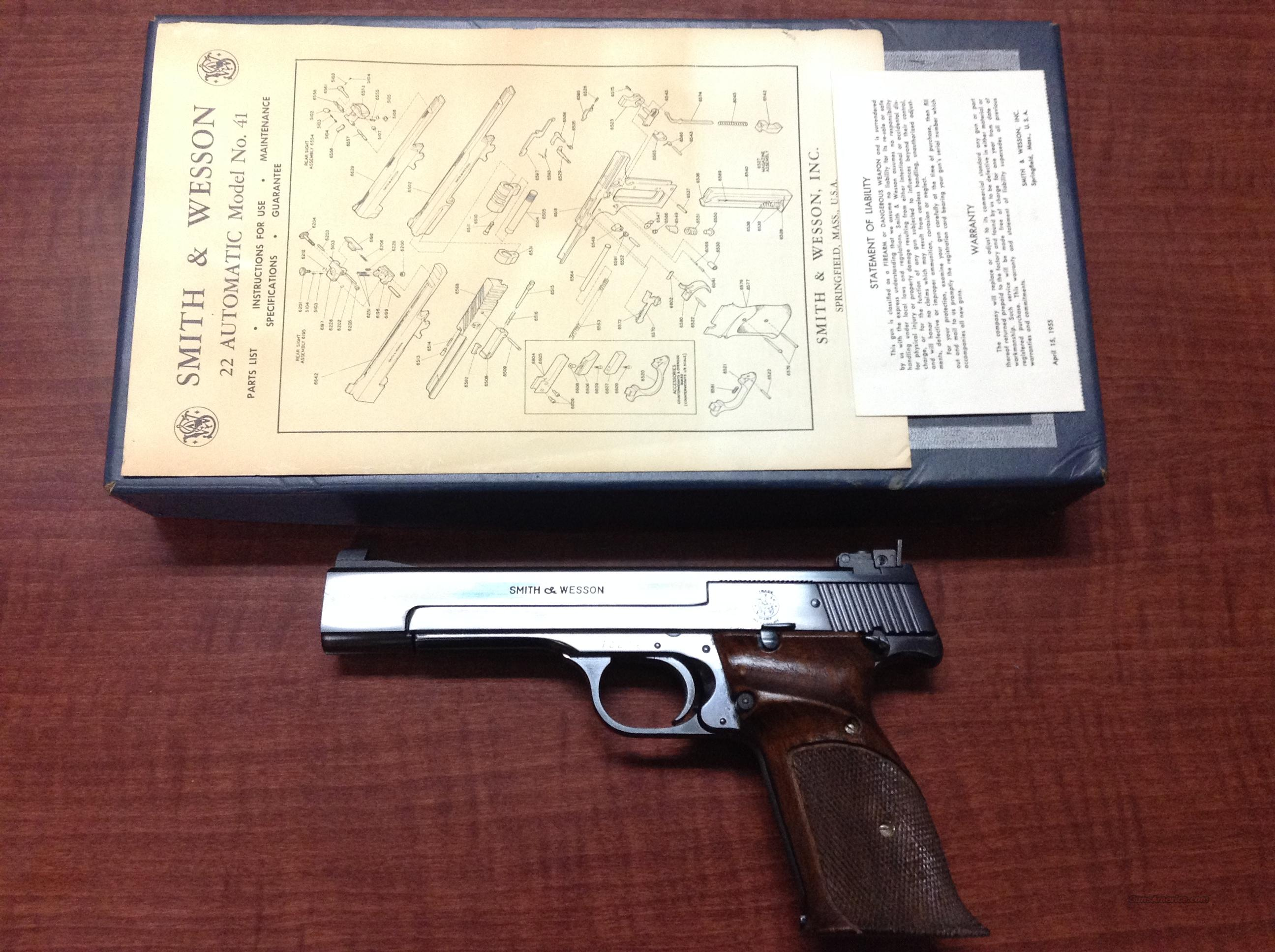 "Smith & Wesson Model 41 Target 22LR 5 1/2"" W/Box,Book,Warranty Card,Receipt 1965  Guns > Pistols > Smith & Wesson Pistols - Autos > .22 Autos"