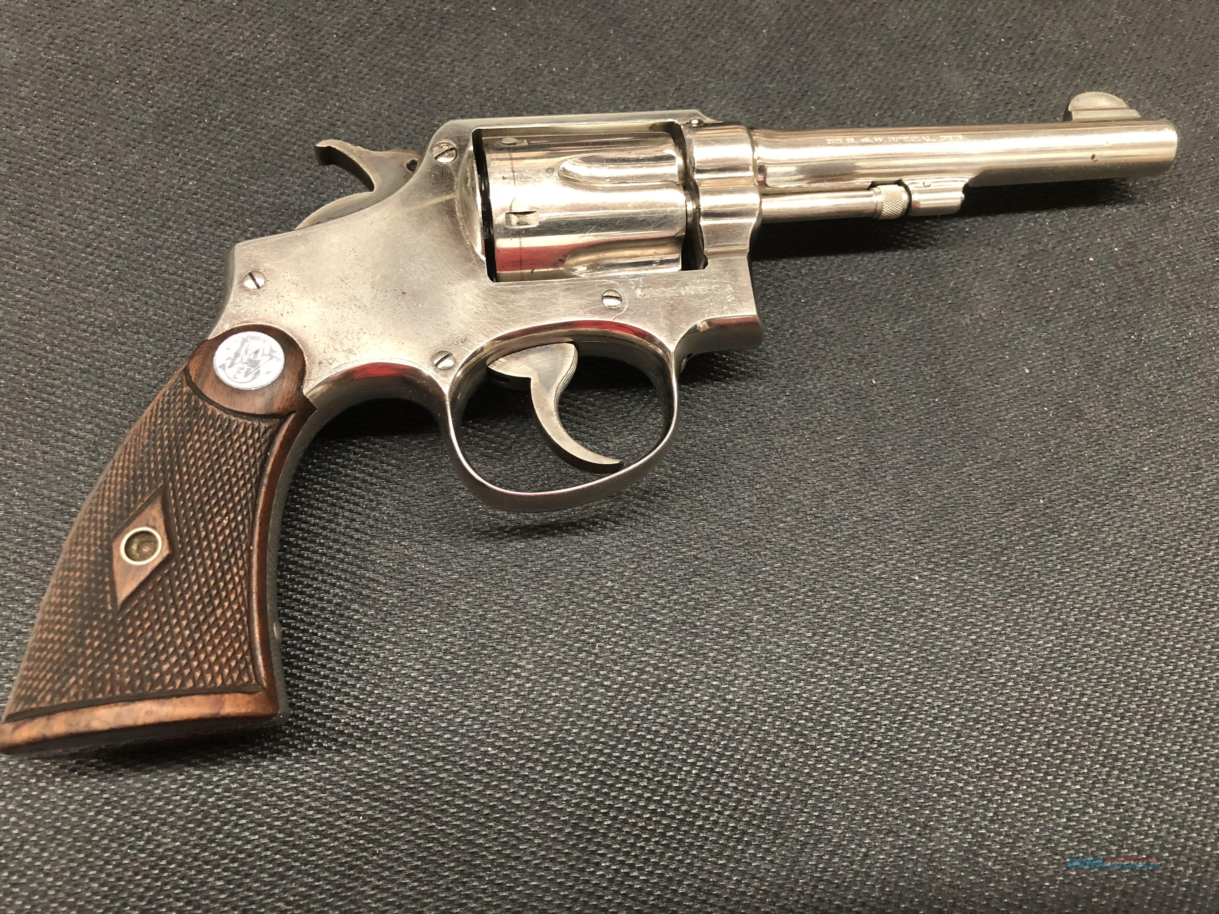 "SMITH WESSON MODEL 10 MILITARY & POLICE NICKEL 5""  Guns > Pistols > Smith & Wesson Revolvers > Pre-1945"