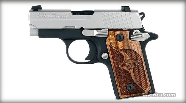Sig Sauer P238-380-SAS 380ACP, two tone, custom wood grip, night sights, includes holster, NIB xxxxxx Rolled, Meltdown, Dehorned xxxxx  Guns > Pistols > Sig - Sauer/Sigarms Pistols > P238