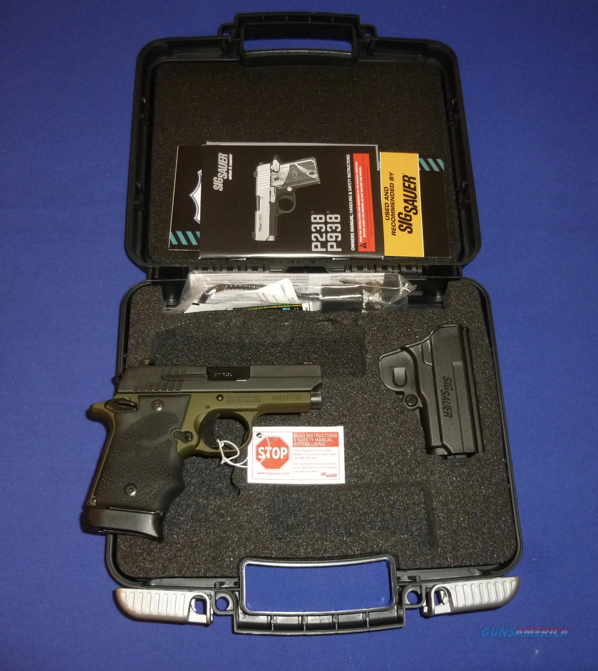 SIG P938 9MM COMPACT PISTOL, ARMY GREEN, NIGHT SIGHTS, HOLSTER, TALO DISTR. EDITION  Guns > Pistols > Sig - Sauer/Sigarms Pistols > P938