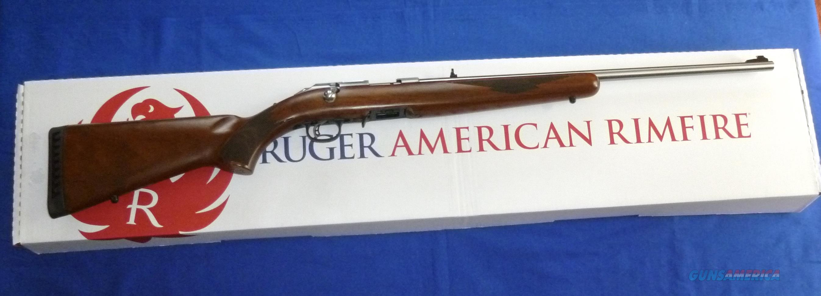 RUGER AMERICAN RIMFIRE STAINLESS STEEL 22 MAGNUM RIFLE BOLT ACTION RIFLE W/WALNUT STOCK  Guns > Rifles > Ruger Rifles > American Rifle