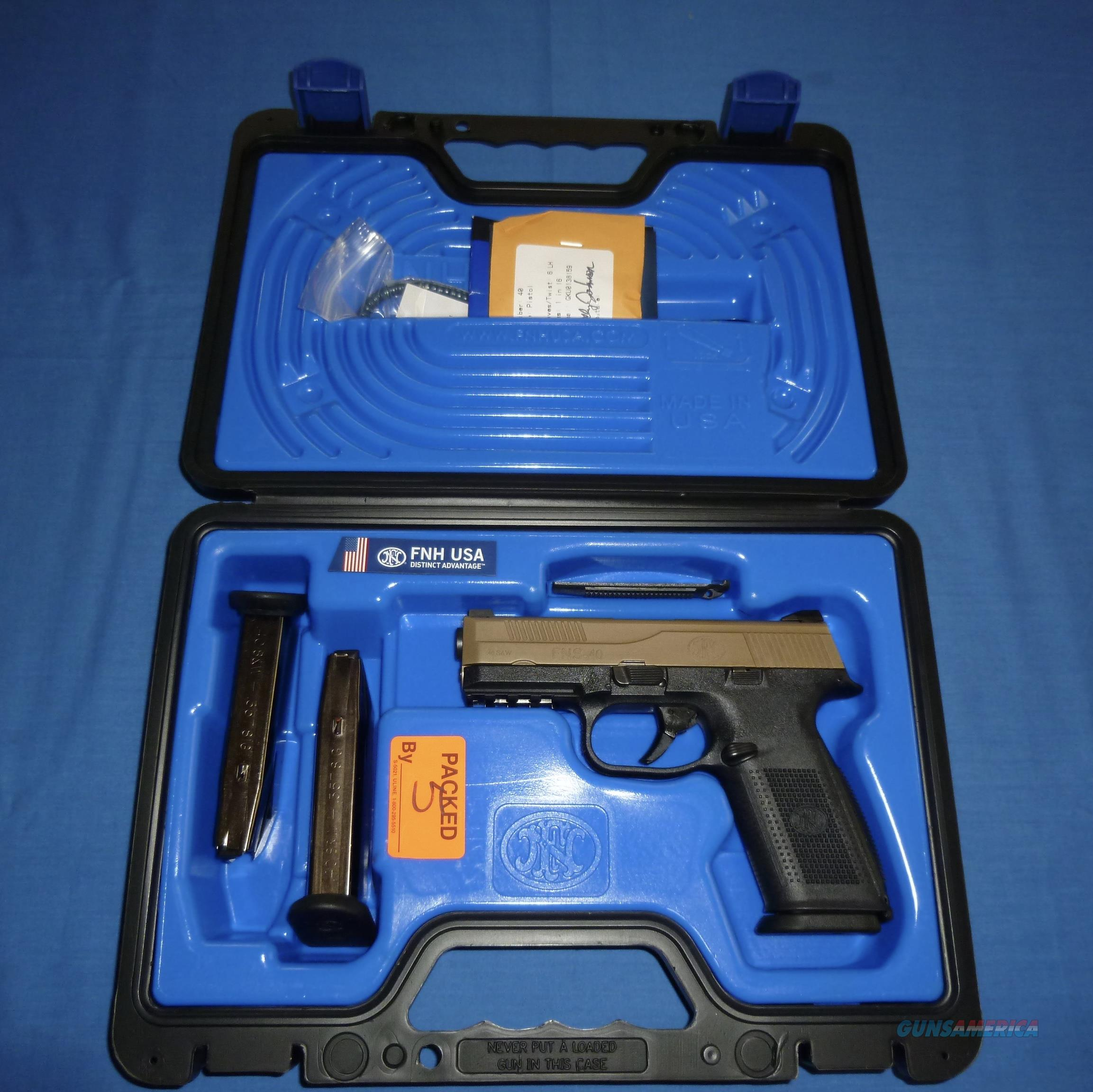 FNH-USA FNS-40 40 CALIBER PISTOL W/FLAT DARK EARTH SLIDE NEW!  Guns > Pistols > FNH - Fabrique Nationale (FN) Pistols > FNS
