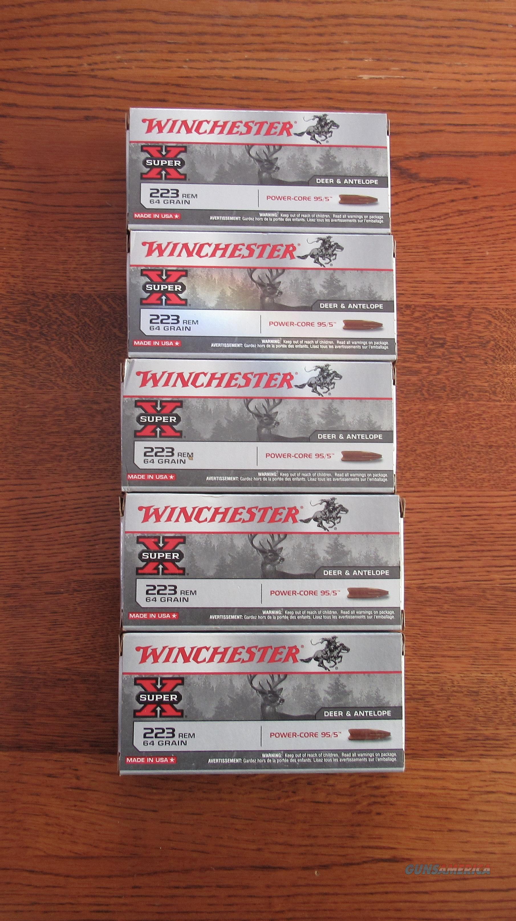 WINCHESTER SUPER X 223 POWER CORE 95/5 DEER & ANTELOPE 64 GR HP AMMO 5 BOXES/20  Non-Guns > Ammunition