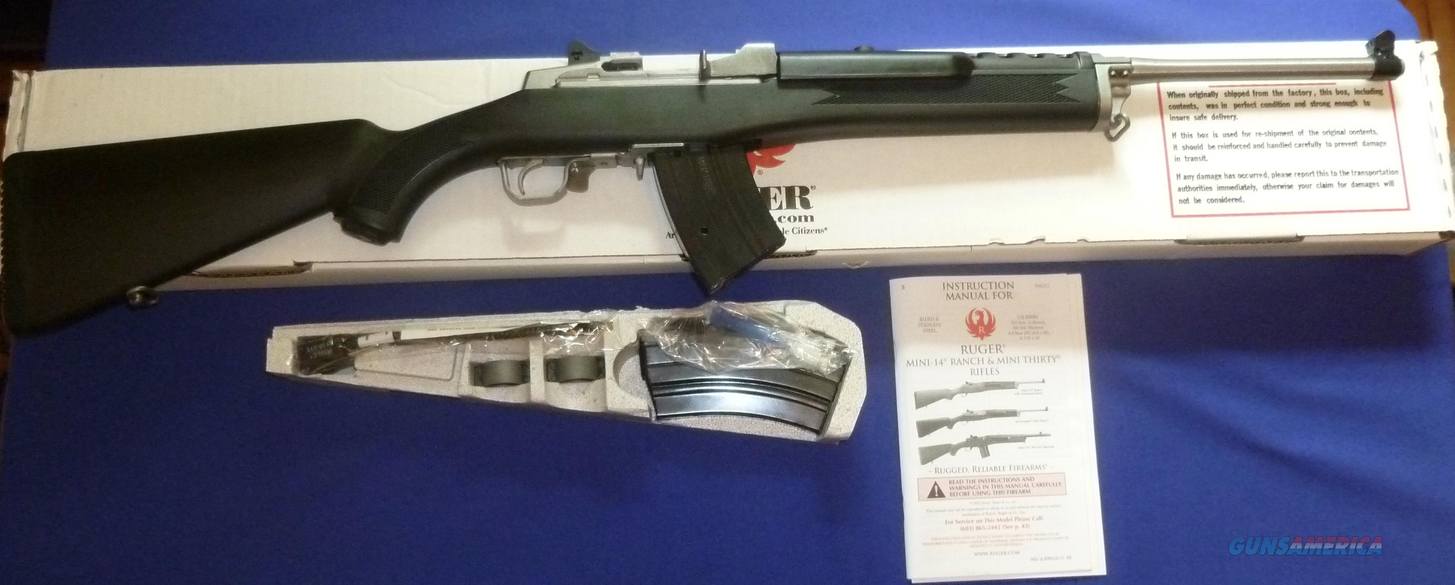 RUGER MINI-30/20 7.62X29 CALIBER SEMI-AUTO RIFLE STAINLESS STEEL NEW!  Guns > Rifles > Ruger Rifles > Mini-14 Type