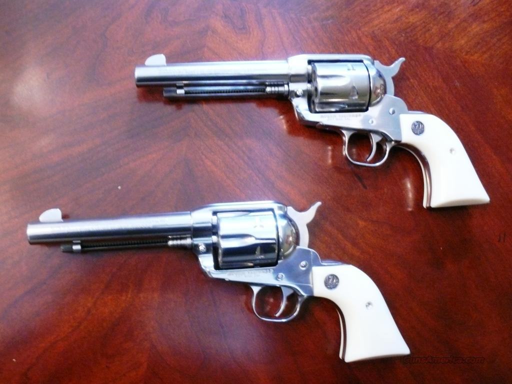 Pair of polished Stainless Ruger Vaqueros in 38/357 Mag   Guns > Pistols > Ruger Single Action Revolvers > Cowboy Action