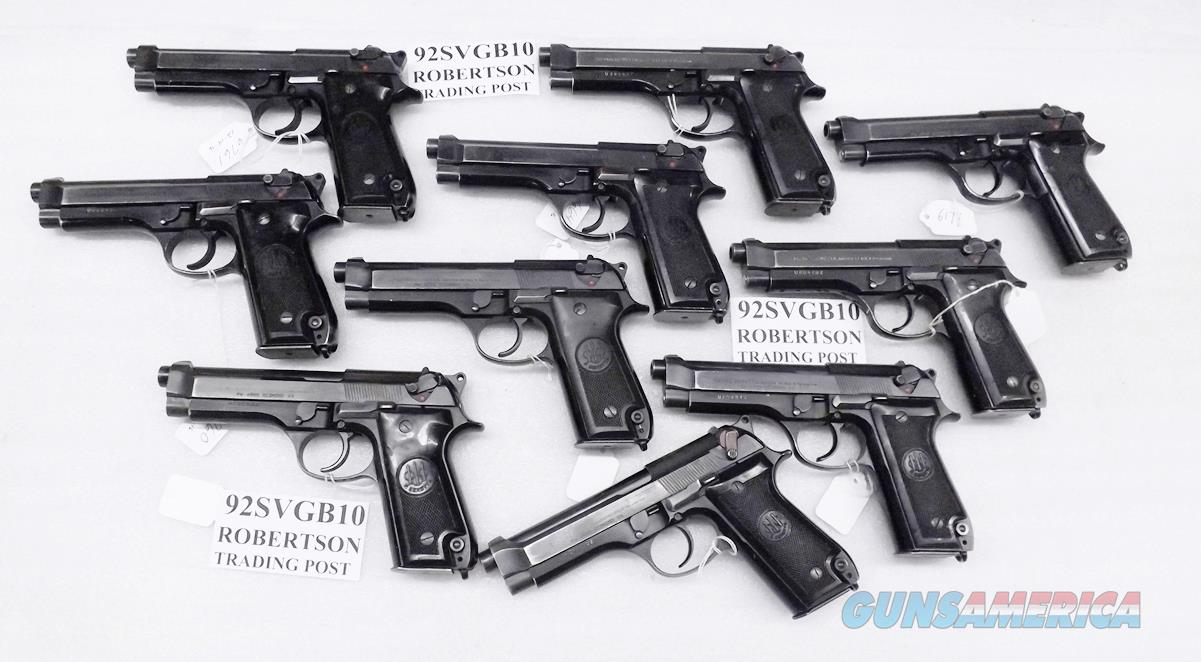 10 Beretta 9mm model 92S Pistols Italy Military Police Italian Carabinieri Very Good Condition  JS92F300M type / ancestor c1978 w1 15 round Magazine each Factory Gloss Anodized Frame, Blue Barrel & Slide VGB 10 Pistols at $259 Per  Guns > Pistols > Beretta Pistols > Model 92 Series