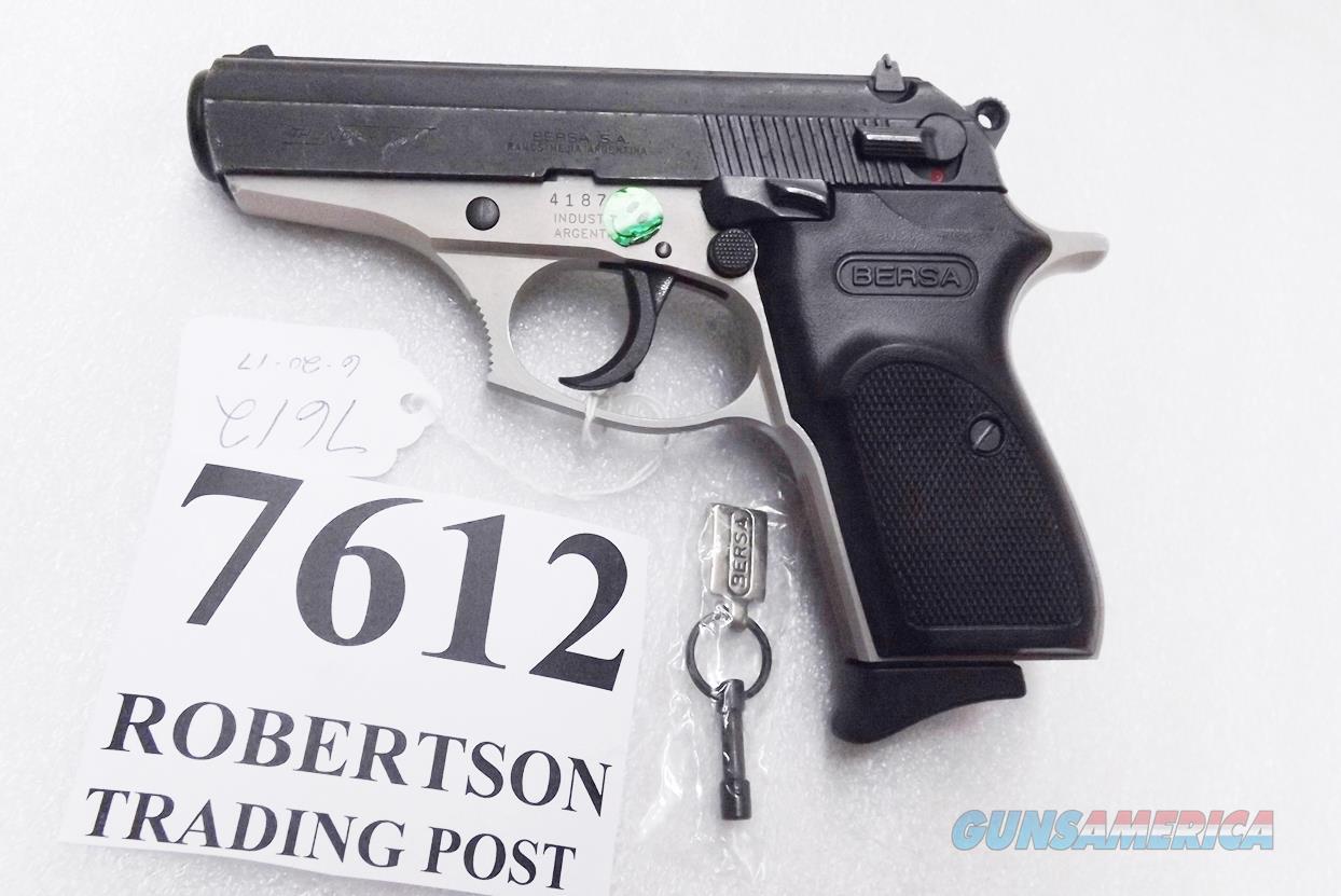 Bersa .380 ACP model Thunder 380 Duo Tone 9 Round T380DT8 Pre Lock Black Slide Nickel Frame Very Good  Condition   Guns > Pistols > Bersa Pistols